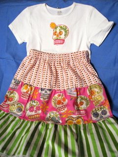 kid tiered skirt with day of the dead fabric