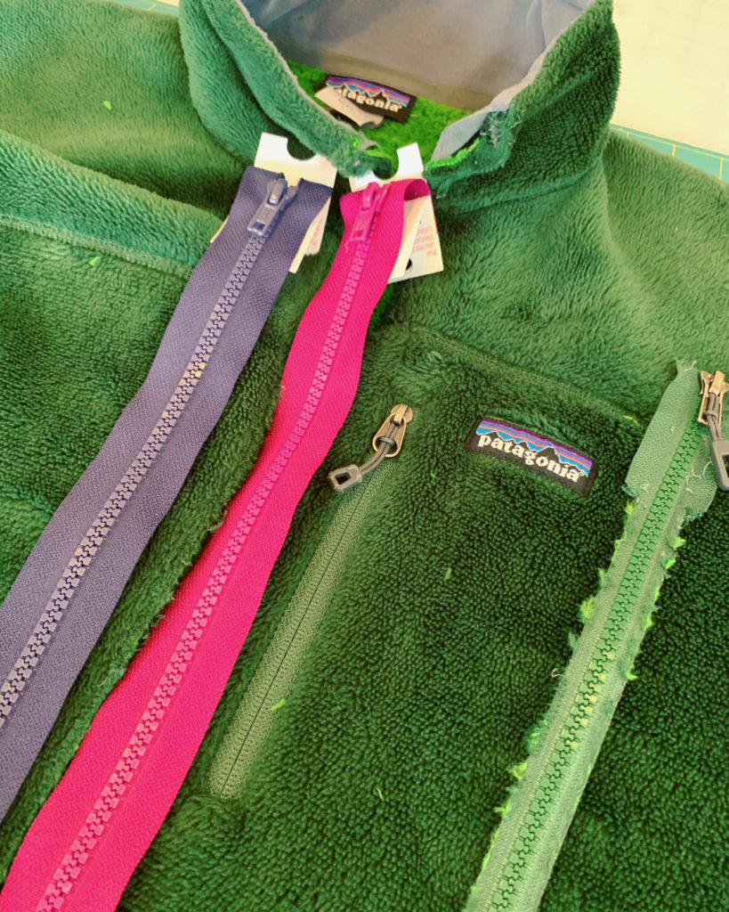 replacing a zipper on a Patagonia jacket