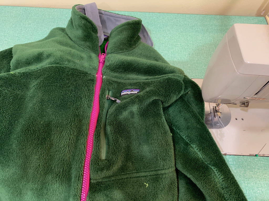 upcycled Patagonia jacket zipper replacement