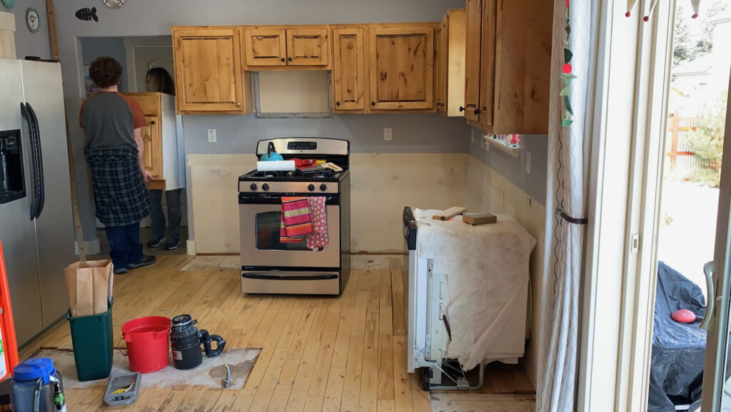 deconstructing and recycling a kitchen